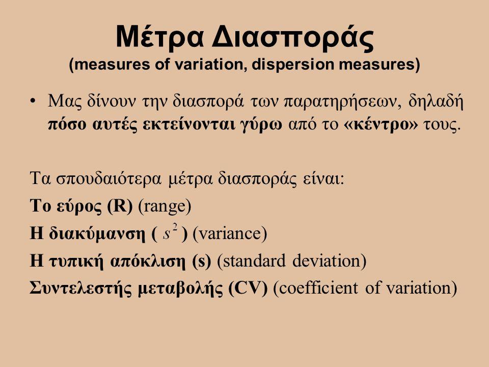 Μέτρα Διασποράς (measures of variation, dispersion measures) Μας δίνουν την διασπορά των παρατηρήσεων, δηλαδή πόσο αυτές εκτείνονται γύρω από το «κέντ
