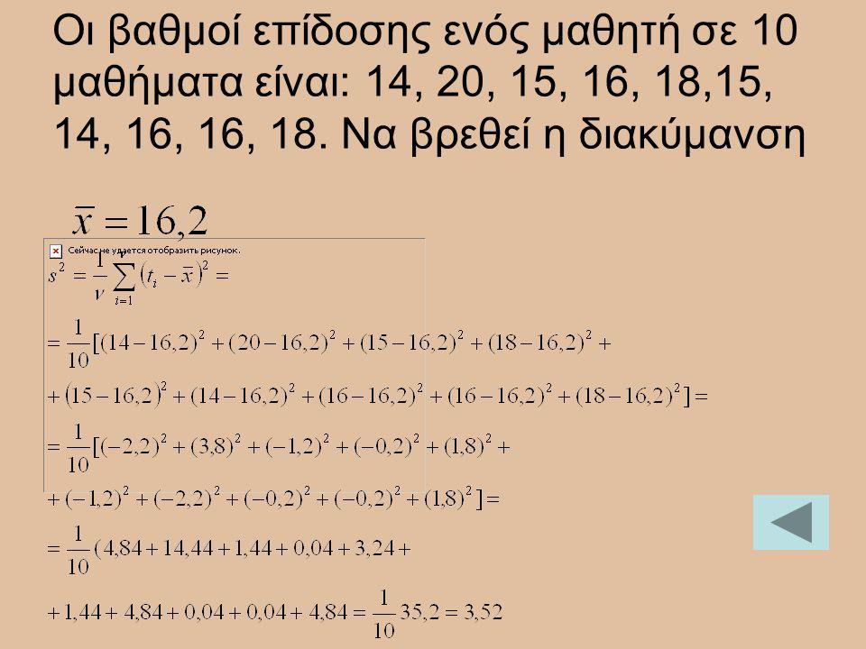 Οι βαθμοί επίδοσης ενός μαθητή σε 10 μαθήματα είναι: 14, 20, 15, 16, 18,15, 14, 16, 16, 18. Να βρεθεί η διακύμανση