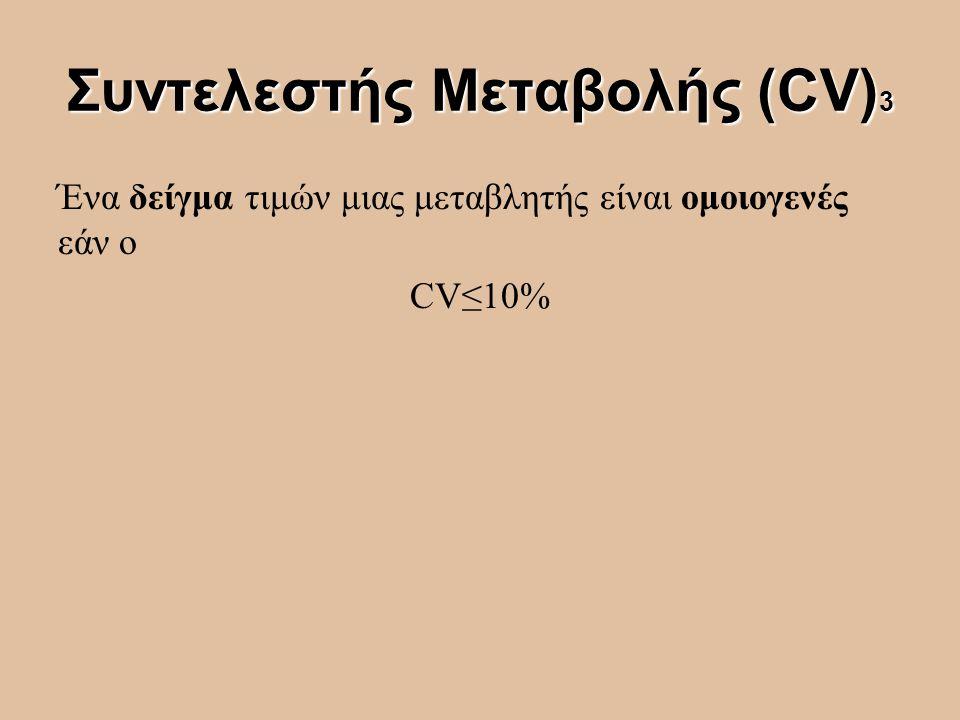 Συντελεστής Μεταβολής (CV) 3 Ένα δείγμα τιμών μιας μεταβλητής είναι ομοιογενές εάν ο CV≤10%