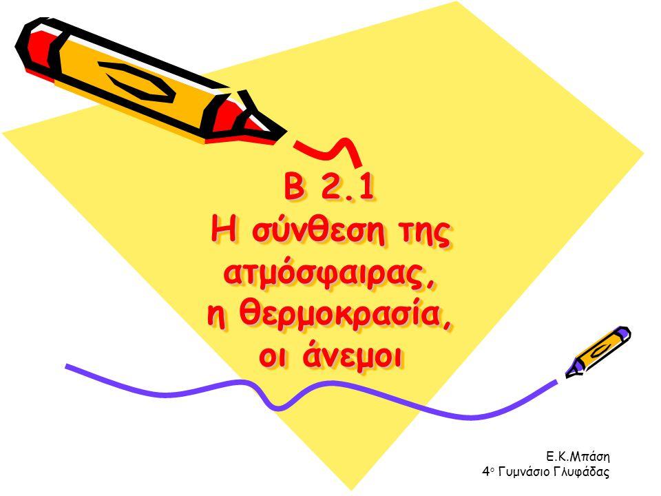 Ε.Κ.Μπάση 4 ο Γυμνάσιο Γλυφάδας Β 2.1 Η σύνθεση της ατμόσφαιρας, η θερμοκρασία, οι άνεμοι