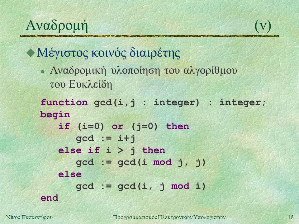 18Νίκος Παπασπύρου Προγραμματισμός Ηλεκτρονικών Υπολογιστών Αναδρομή(v) u Μέγιστος κοινός διαιρέτης l Αναδρομική υλοποίηση του αλγορίθμου του Ευκλείδη function gcd(i,j : integer) : integer; begin if (i=0) or (j=0) then gcd := i+j else if i > j then gcd := gcd(i mod j, j) else gcd := gcd(i, j mod i) end