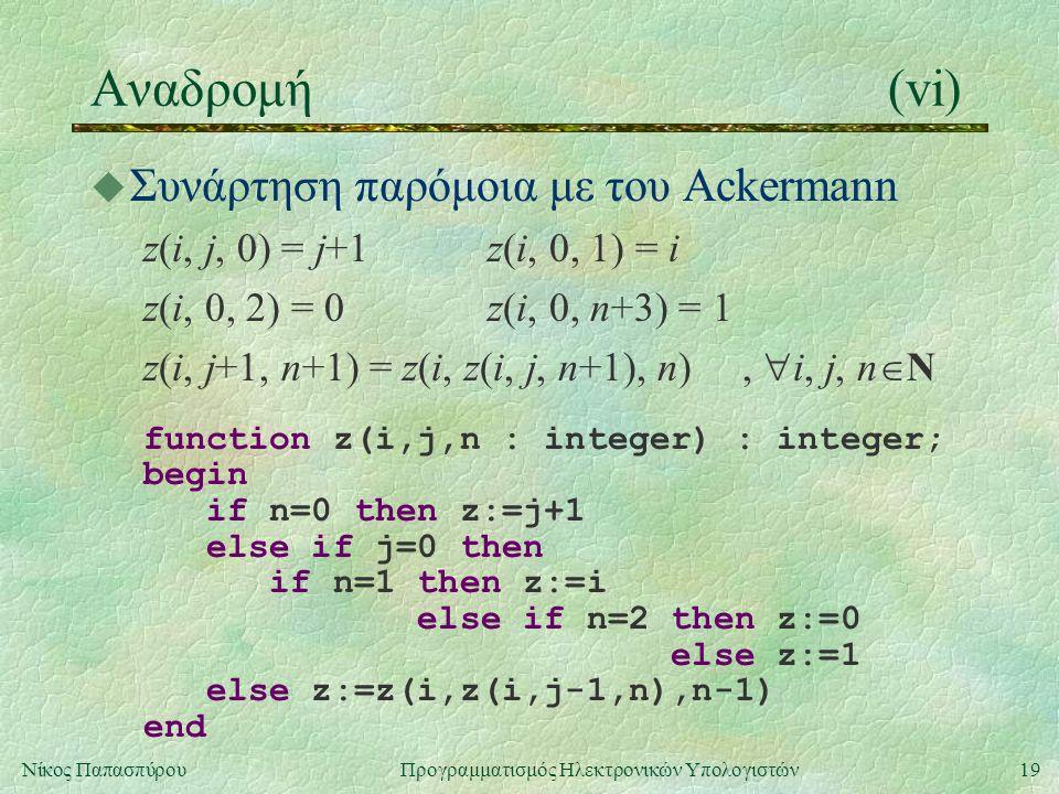19Νίκος Παπασπύρου Προγραμματισμός Ηλεκτρονικών Υπολογιστών Αναδρομή(vi) u Συνάρτηση παρόμοια με του Ackermann z(i, j, 0) = j+1z(i, 0, 1) = i z(i, 0, 2) = 0z(i, 0, n+3) = 1 z(i, j+1, n+1) = z(i, z(i, j, n+1), n),  i, j, n  N function z(i,j,n : integer) : integer; begin if n=0 then z:=j+1 else if j=0 then if n=1 then z:=i else if n=2 then z:=0 else z:=1 else z:=z(i,z(i,j-1,n),n-1) end