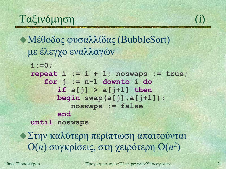 21Νίκος Παπασπύρου Προγραμματισμός Ηλεκτρονικών Υπολογιστών Ταξινόμηση(i) u Μέθοδος φυσαλλίδας (BubbleSort) με έλεγχο εναλλαγών i:=0; repeat i := i + 1; noswaps := true; for j := n-1 downto i do if a[j] > a[j+1] then begin swap(a[j],a[j+1]); noswaps := false end until noswaps u Στην καλύτερη περίπτωση απαιτούνται O(n) συγκρίσεις, στη χειρότερη O(n 2 )