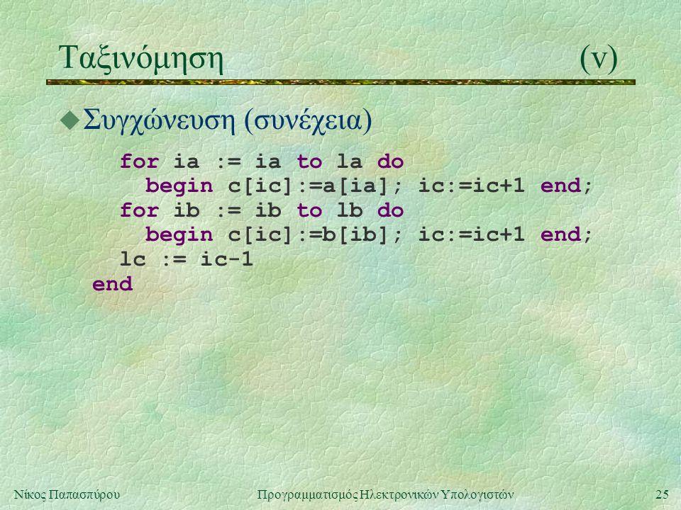 25Νίκος Παπασπύρου Προγραμματισμός Ηλεκτρονικών Υπολογιστών Ταξινόμηση(v) u Συγχώνευση (συνέχεια) for ia := ia to la do begin c[ic]:=a[ia]; ic:=ic+1 end; for ib := ib to lb do begin c[ic]:=b[ib]; ic:=ic+1 end; lc := ic-1 end