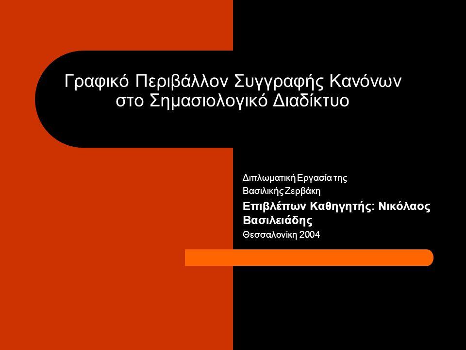 Γραφικό Περιβάλλον Συγγραφής Κανόνων στο Σημασιολογικό Διαδίκτυο Διπλωματική Εργασία της Βασιλικής Ζερβάκη Επιβλέπων Καθηγητής: Νικόλαος Βασιλειάδης Θεσσαλονίκη 2004
