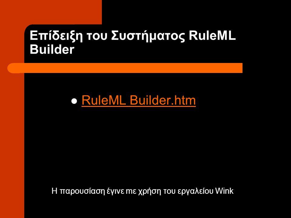 Επίδειξη του Συστήματος RuleML Builder RuleML Builder.htm Η παρουσίαση έγινε mε χρήση του εργαλείου Wink