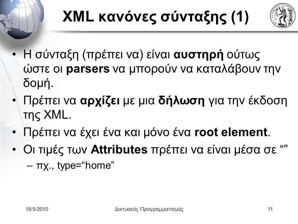 18/5/2010Δικτυακός Προγραμματισμός11 XML κανόνες σύνταξης (1) Η σύνταξη (πρέπει να) είναι αυστηρή ούτως ώστε οι parsers να μπορούν να καταλάβουν την δομή.