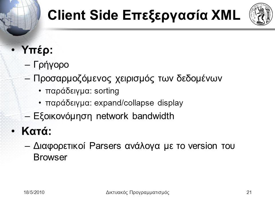 Client Side Επεξεργασία XML Υπέρ: –Γρήγορο –Προσαρμοζόμενος χειρισμός των δεδομένων παράδειγμα: sorting παράδειγμα: expand/collapse display –Εξοικονόμηση network bandwidth Κατά: –Διαφορετικοί Parsers ανάλογα με το version του Browser 18/5/2010Δικτυακός Προγραμματισμός21