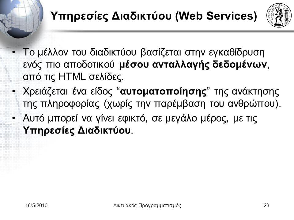 18/5/2010Δικτυακός Προγραμματισμός23 Υπηρεσίες Διαδικτύου (Web Services) Το μέλλον του διαδικτύου βασίζεται στην εγκαθίδρυση ενός πιο αποδοτικού μέσου ανταλλαγής δεδομένων, από τις HTML σελίδες.