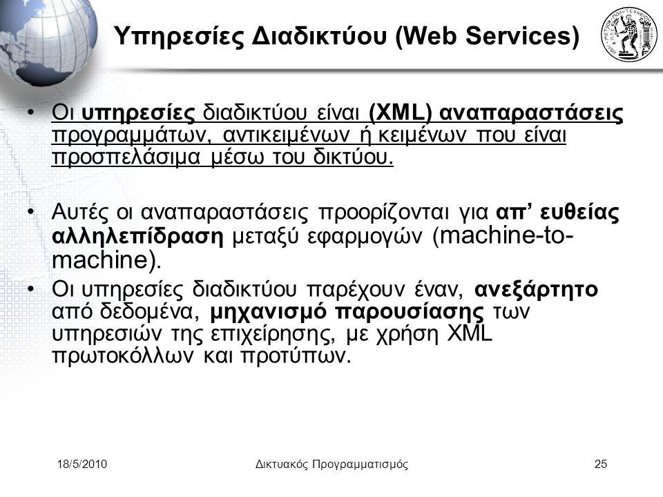 18/5/2010Δικτυακός Προγραμματισμός25 Υπηρεσίες Διαδικτύου (Web Services) Οι υπηρεσίες διαδικτύου είναι (XML) αναπαραστάσεις προγραμμάτων, αντικειμένων ή κειμένων που είναι προσπελάσιμα μέσω του δικτύου.