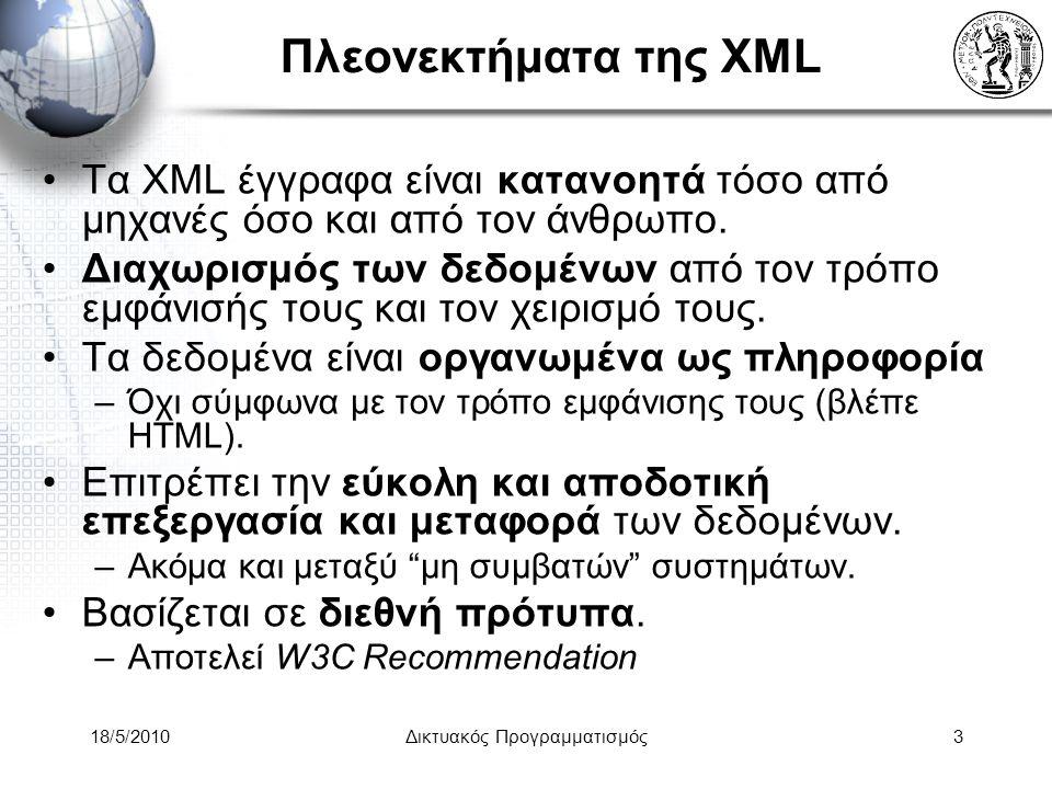 18/5/2010Δικτυακός Προγραμματισμός4 Ορισμοί - Γλώσσες σχετικές με XML (1) XSL (Extensible Stylesheet Language) –H eXtensible Stylesheet Language (XSL) είναι μια κατηγορία γλωσσών που περιγράφει πως τα δεδομένα στα XML documents παρουσιάζονται ή επεξεργάζονται.