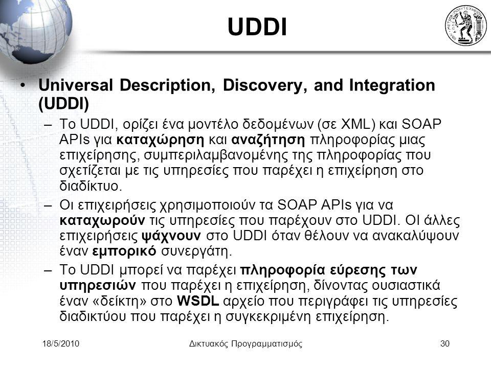 18/5/2010Δικτυακός Προγραμματισμός30 UDDI Universal Description, Discovery, and Integration (UDDI) –To UDDI, ορίζει ένα μοντέλο δεδομένων (σε XML) και SOAP APIs για καταχώρηση και αναζήτηση πληροφορίας μιας επιχείρησης, συμπεριλαμβανομένης της πληροφορίας που σχετίζεται με τις υπηρεσίες που παρέχει η επιχείρηση στο διαδίκτυο.