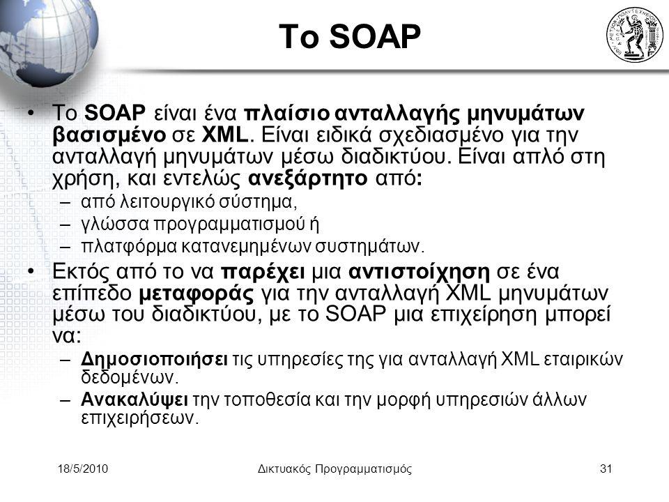 18/5/2010Δικτυακός Προγραμματισμός31 To SOAP Το SOAP είναι ένα πλαίσιο ανταλλαγής μηνυμάτων βασισμένο σε XML.