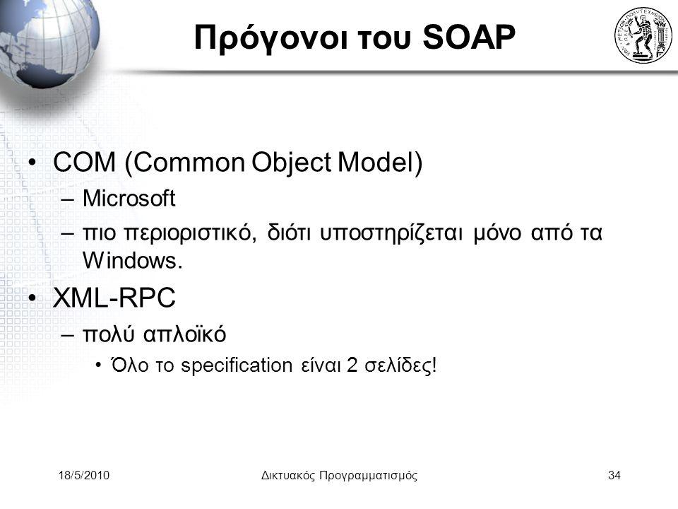 18/5/2010Δικτυακός Προγραμματισμός34 Πρόγονοι του SOAP COM (Common Object Model) –Microsoft –πιο περιοριστικό, διότι υποστηρίζεται μόνο από τα Windows.