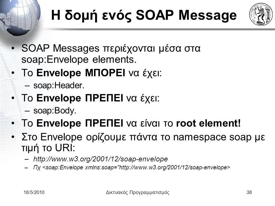18/5/2010Δικτυακός Προγραμματισμός38 Η δομή ενός SOAP Message SOAP Messages περιέχονται μέσα στα soap:Envelope elements.