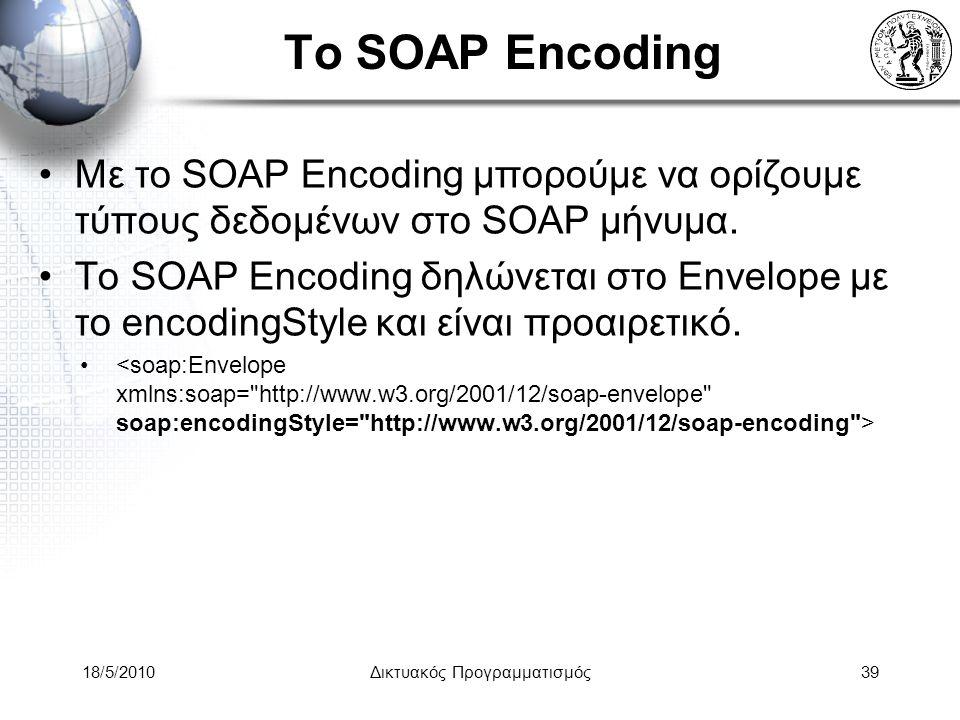 18/5/2010Δικτυακός Προγραμματισμός39 Το SOAP Encoding Με το SOAP Encoding μπορούμε να ορίζουμε τύπους δεδομένων στο SOAP μήνυμα.