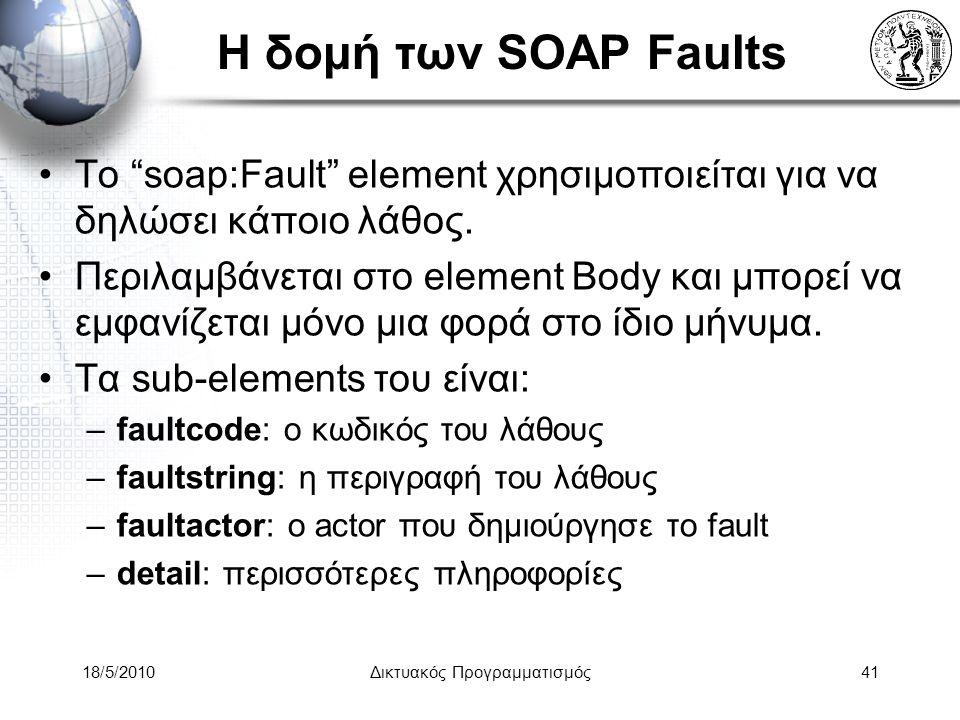 18/5/2010Δικτυακός Προγραμματισμός41 Η δομή των SOAP Faults Το soap:Fault element χρησιμοποιείται για να δηλώσει κάποιο λάθος.