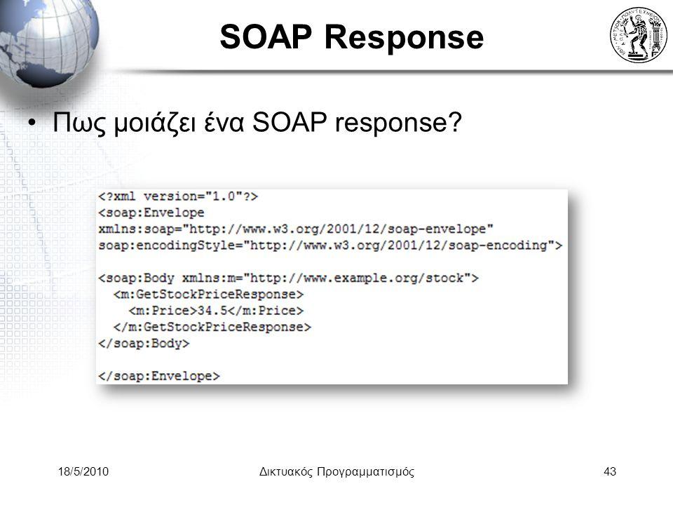 18/5/2010Δικτυακός Προγραμματισμός43 SOAP Response Πως μοιάζει ένα SOAP response