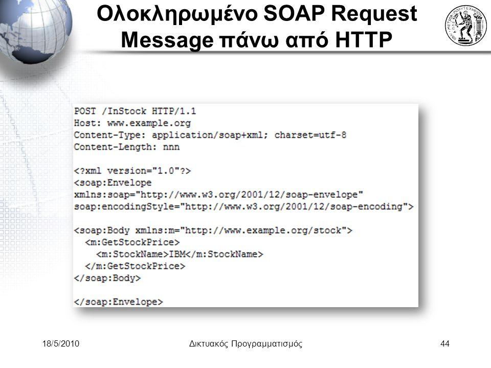 Ολοκληρωμένο SOAP Request Message πάνω από HTTP 18/5/2010Δικτυακός Προγραμματισμός44
