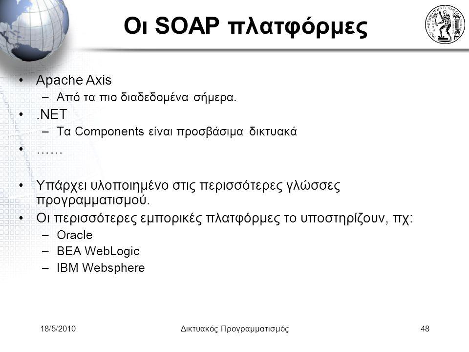 18/5/2010Δικτυακός Προγραμματισμός48 Οι SOAP πλατφόρμες Apache Axis –Από τα πιο διαδεδομένα σήμερα..NET –Τα Components είναι προσβάσιμα δικτυακά …… Υπάρχει υλοποιημένο στις περισσότερες γλώσσες προγραμματισμού.