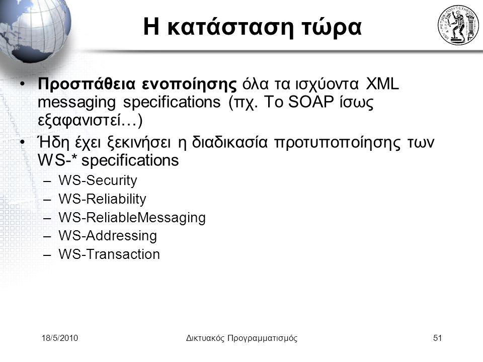 18/5/2010Δικτυακός Προγραμματισμός51 Η κατάσταση τώρα Προσπάθεια ενοποίησης όλα τα ισχύοντα XML messaging specifications (πχ.