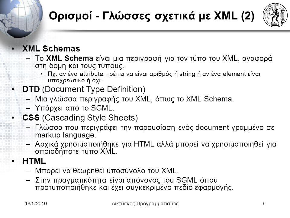 18/5/2010Δικτυακός Προγραμματισμός17 XML Display CSS - Cascading Style Sheets –Υπέρ: εύκολος ορισμός ιδιοτήτων εμφάνισης ενός XML element –Κατά: Δεν είναι πολύ «δυνατά» –Μόνο για τα Web browser –Παράδειγμα: p { font-family: Garamond , serif; } h2 { font-size: 110%; color: red; background: white; }.note { color: red; background: yellow; font-weight: bold; }