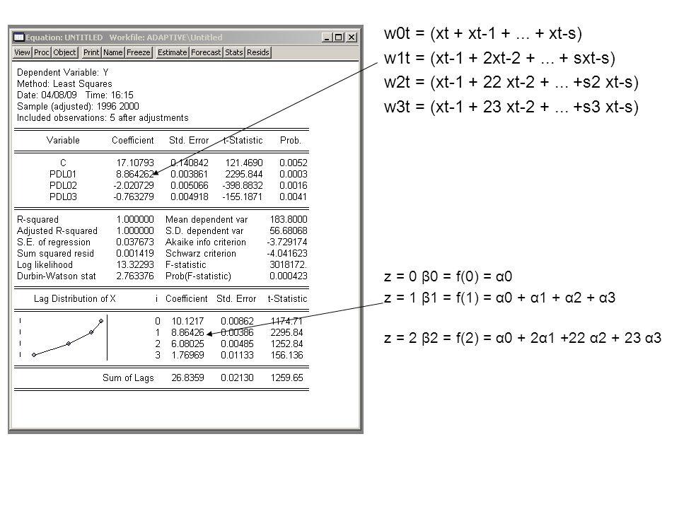 w0t = (xt + xt-1 +... + xt-s) w1t = (xt-1 + 2xt-2 +...