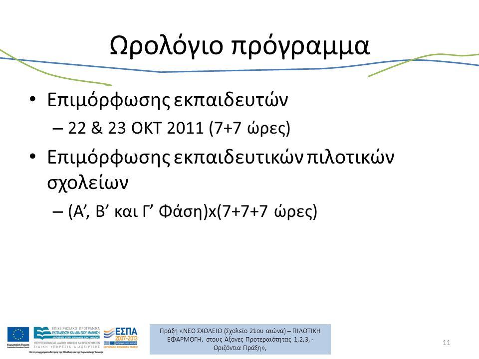 Πράξη «ΝΕΟ ΣΧΟΛΕΙΟ (Σχολείο 21ου αιώνα) – ΠΙΛΟΤΙΚΗ ΕΦΑΡΜΟΓΗ, στους Άξονες Προτεραιότητας 1,2,3, - Οριζόντια Πράξη», Ωρολόγιο πρόγραμμα Επιμόρφωσης εκπαιδευτών – 22 & 23 ΟΚΤ 2011 (7+7 ώρες) Επιμόρφωσης εκπαιδευτικών πιλοτικών σχολείων – (Α', Β' και Γ' Φάση)x(7+7+7 ώρες) 11