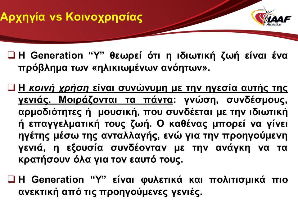 """Αρχηγία vs Κοινοχρησίας  Η Generation """"Υ"""" θεωρεί ότι η ιδιωτική ζωή είναι ένα πρόβλημα των «ηλικιωμένων ανόητων».  Η κοινή χρήση είναι συνώνυμη με τ"""