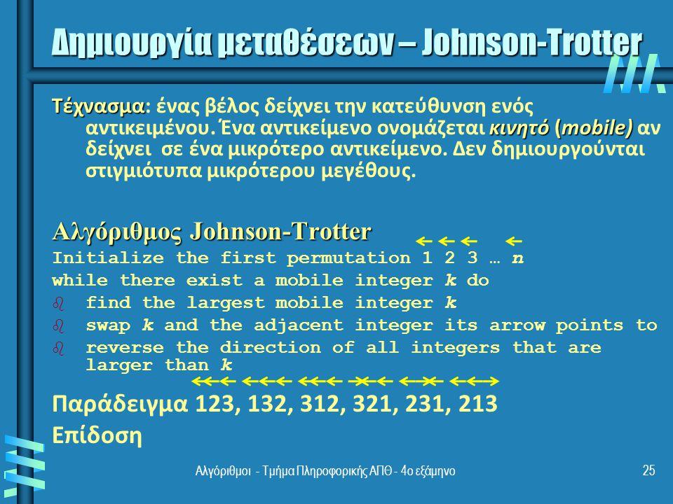Αλγόριθμοι - Τμήμα Πληροφορικής ΑΠΘ - 4ο εξάμηνο25 Δημιουργία μεταθέσεων – Johnson-Trotter Τέχνασμα κινητό (mobile) Τέχνασμα: ένας βέλος δείχνει την κατεύθυνση ενός αντικειμένου.