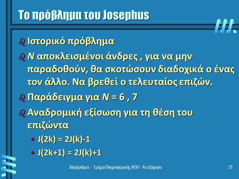 Αλγόριθμοι - Τμήμα Πληροφορικής ΑΠΘ - 4ο εξάμηνο31 Το πρόβλημα του Josephus b Ιστορικό πρόβλημα b N αποκλεισμένοι άνδρες, για να μην παραδοθούν, θα σκοτώσουν διαδοχικά ο ένας τον άλλο.