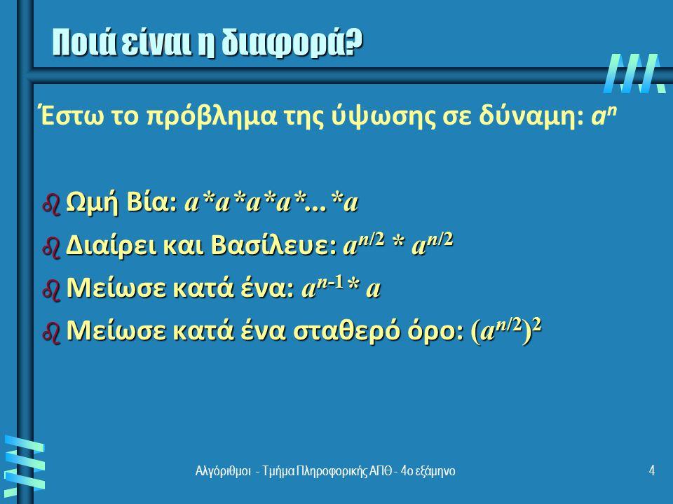 Αλγόριθμοι - Τμήμα Πληροφορικής ΑΠΘ - 4ο εξάμηνο4 Ποιά είναι η διαφορά.