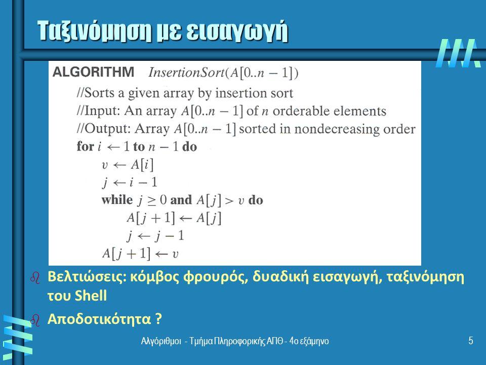 Αλγόριθμοι - Τμήμα Πληροφορικής ΑΠΘ - 4ο εξάμηνο5 Ταξινόμηση με εισαγωγή b b Βελτιώσεις: κόμβος φρουρός, δυαδική εισαγωγή, ταξινόμηση του Shell b b Αποδοτικότητα ?