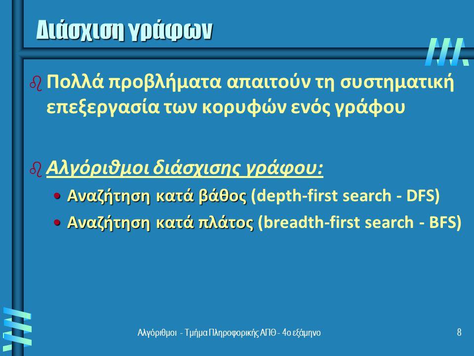 8 Διάσχιση γράφων b b Πολλά προβλήματα απαιτούν τη συστηματική επεξεργασία των κορυφών ενός γράφου b b Αλγόριθμοι διάσχισης γράφου: Αναζήτηση κατά βάθοςΑναζήτηση κατά βάθος (depth-first search - DFS) Αναζήτηση κατά πλάτοςΑναζήτηση κατά πλάτος (breadth-first search - BFS)