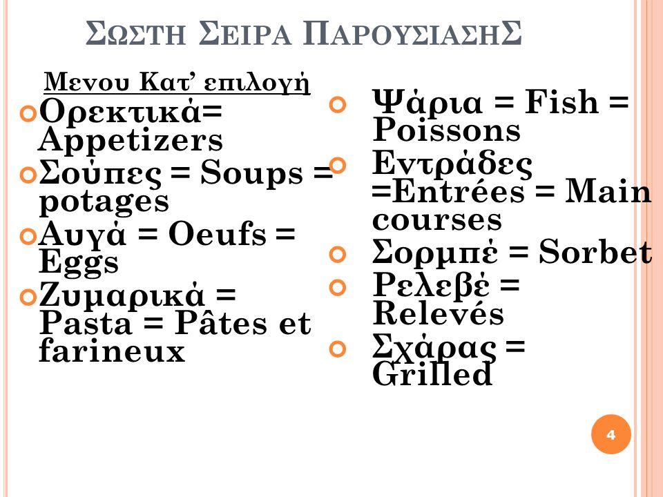 Σ ΩΣΤΗ Σ ΕΙΡΑ Π ΑΡΟΥΣΙΑΣΗ Σ Μενου Κατ' επιλογή Ορεκτικά= Appetizers Σούπες = Soups = potages Αυγά = Oeufs = Eggs Ζυμαρικά = Pasta = Pâtes et farineux