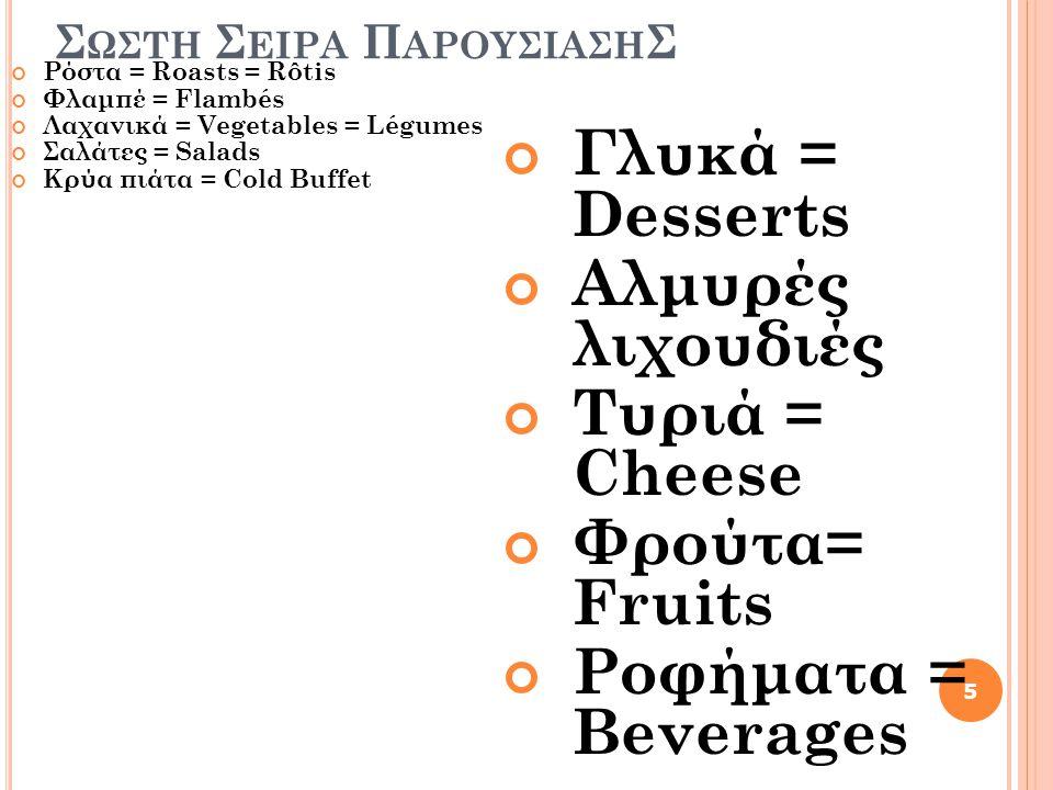 Σ ΩΣΤΗ Σ ΕΙΡΑ Π ΑΡΟΥΣΙΑΣΗ Σ Ρόστα = Roasts = Rôtis Φλαμπέ = Flambés Λαχανικά = Vegetables = Légumes Σαλάτες = Salads Κρύα πιάτα = Cold Buffet Γλυκά =