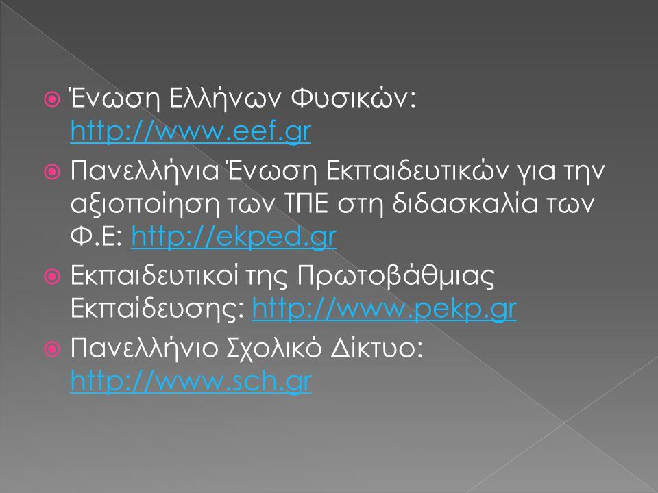  Ένωση Ελλήνων Φυσικών: http://www.eef.gr http://www.eef.gr  Πανελλήνια Ένωση Εκπαιδευτικών για την αξιοποίηση των ΤΠΕ στη διδασκαλία των Φ.Ε: http://ekped.grhttp://ekped.gr  Εκπαιδευτικοί της Πρωτοβάθμιας Εκπαίδευσης: http://www.pekp.grhttp://www.pekp.gr  Πανελλήνιο Σχολικό Δίκτυο: http://www.sch.gr http://www.sch.gr