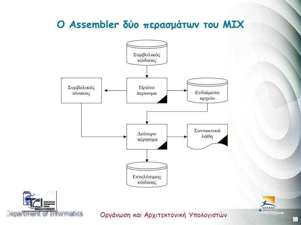 10 Οργάνωση και Αρχιτεκτονική Υπολογιστών Ο Assembler δύο περασμάτων του ΜΙΧ