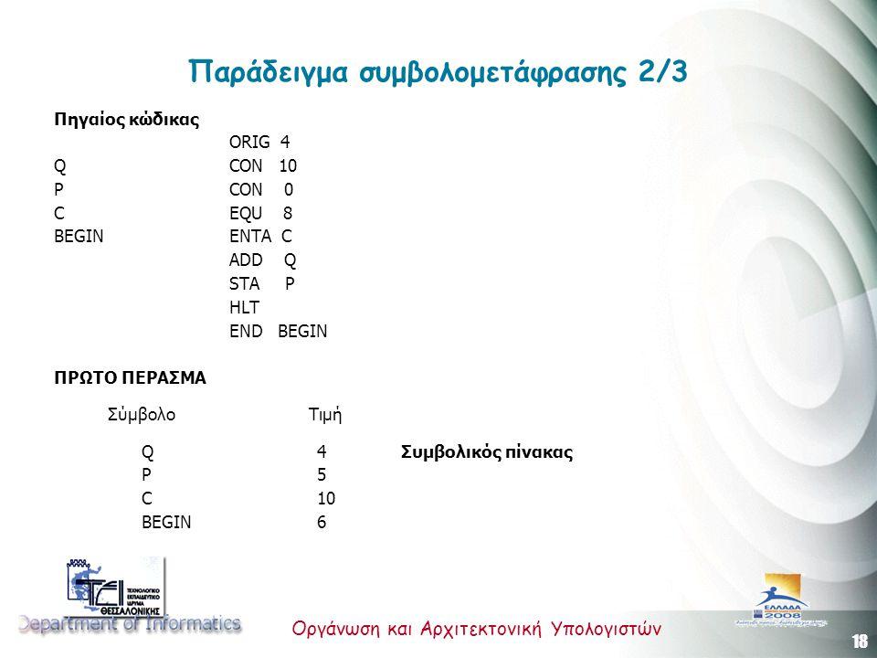 18 Οργάνωση και Αρχιτεκτονική Υπολογιστών Παράδειγμα συμβολομετάφρασης 2/3 Πηγαίος κώδικας ORIG 4 Q CON 10 P CON 0 C EQU 8 BEGIN ENTA C ADD Q STA P HLT END BEGIN ΠΡΩΤΟ ΠΕΡΑΣΜΑ Σύμβολο Τιμή Q4 Συμβολικός πίνακας P5 C10 BEGIN6