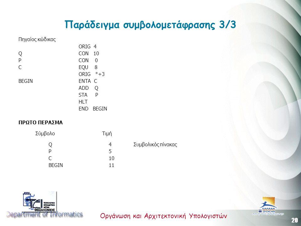 20 Οργάνωση και Αρχιτεκτονική Υπολογιστών Παράδειγμα συμβολομετάφρασης 3/3 Πηγαίος κώδικας ORIG 4 Q CON 10 P CON 0 C EQU 8 ORIG *+3 BEGIN ENTA C ADD Q STA P HLT END BEGIN ΠΡΩΤΟ ΠΕΡΑΣΜΑ Σύμβολο Τιμή Q4 Συμβολικός πίνακας P5 C10 BEGIN11
