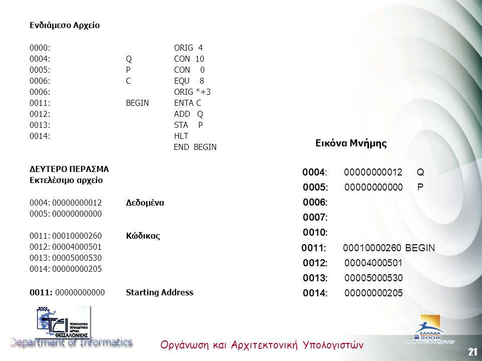 21 Οργάνωση και Αρχιτεκτονική Υπολογιστών Ενδιάμεσο Αρχείο 0000:ORIG 4 0004:Q CON 10 0005:P CON 0 0006:C EQU 8 0006:ORIG *+3 0011:BEGIN ENTA C 0012:ADD Q 0013:STA P 0014:HLT END BEGIN ΔΕΥΤΕΡΟ ΠΕΡΑΣΜΑ Εκτελέσιμο αρχείο 0004: 00000000012 Δεδομένα 0005: 00000000000 0011: 00010000260 Κώδικας 0012: 00004000501 0013: 00005000530 0014: 00000000205 0011: 00000000000 Starting Address Εικόνα Μνήμης 0004: 00000000012 Q 0005: 00000000000 P 0006: 0007: 0010: 0011: 00010000260 BEGIN 0012: 00004000501 0013: 00005000530 0014: 00000000205