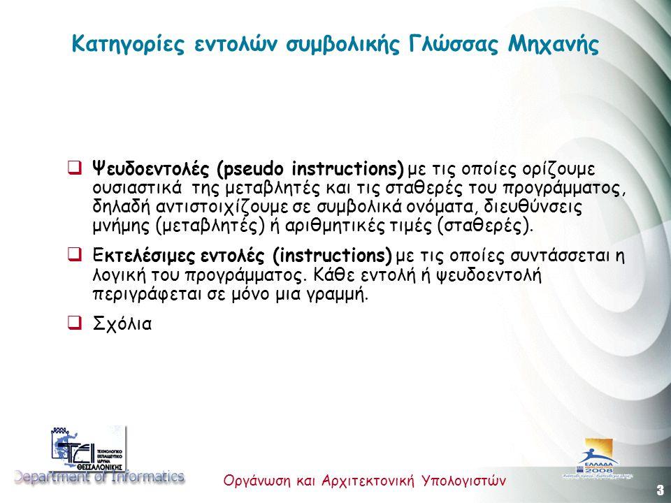 3 Οργάνωση και Αρχιτεκτονική Υπολογιστών Κατηγορίες εντολών συμβολικής Γλώσσας Μηχανής  Ψευδοεντολές (pseudo instructions) με τις οποίες ορίζουμε ουσ