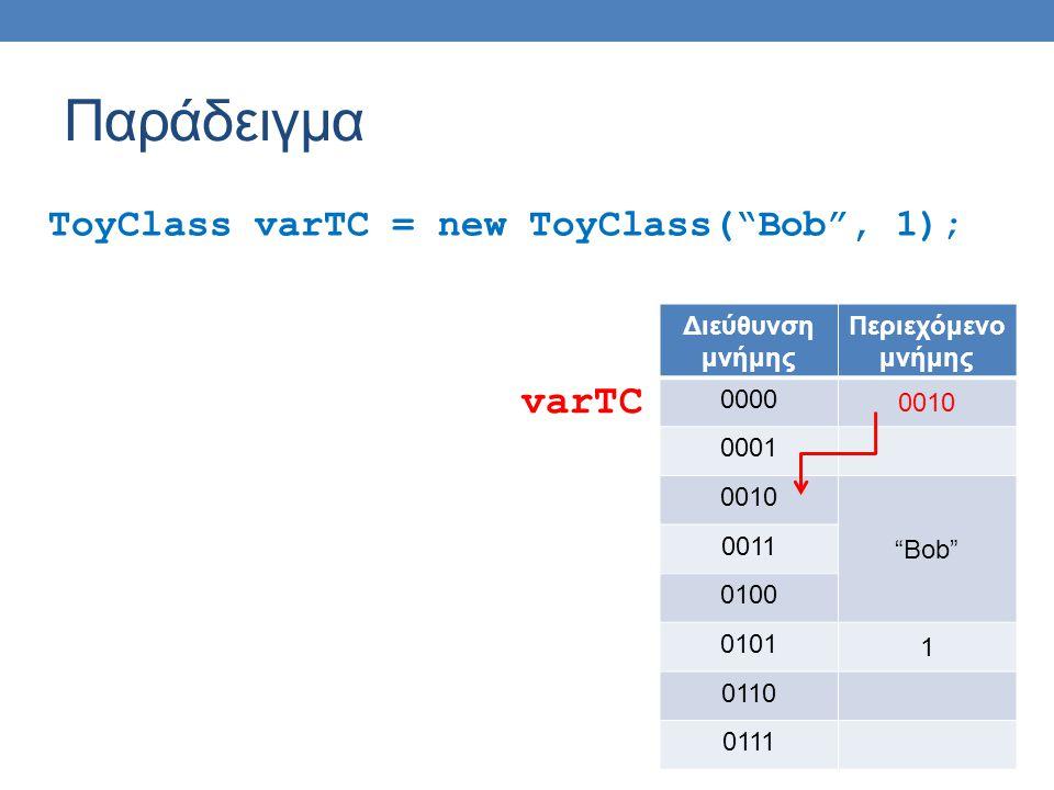 """Παράδειγμα ToyClass varTC = new ToyClass(""""Bob"""", 1); Διεύθυνση μνήμης Περιεχόμενο μνήμης 0000 0010 0001 0010 """"Bob"""" 0011 0100 0101 1 0110 0111 varTC"""