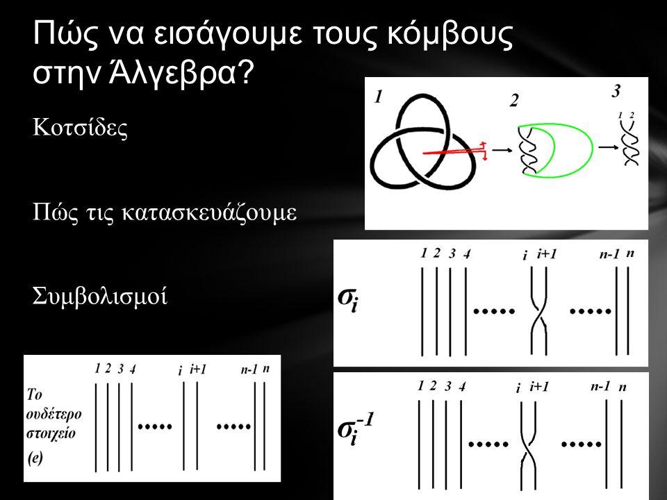 Πώς να εισάγουμε τους κόμβους στην Άλγεβρα Κοτσίδες Πώς τις κατασκευάζουμε Συμβολισμοί