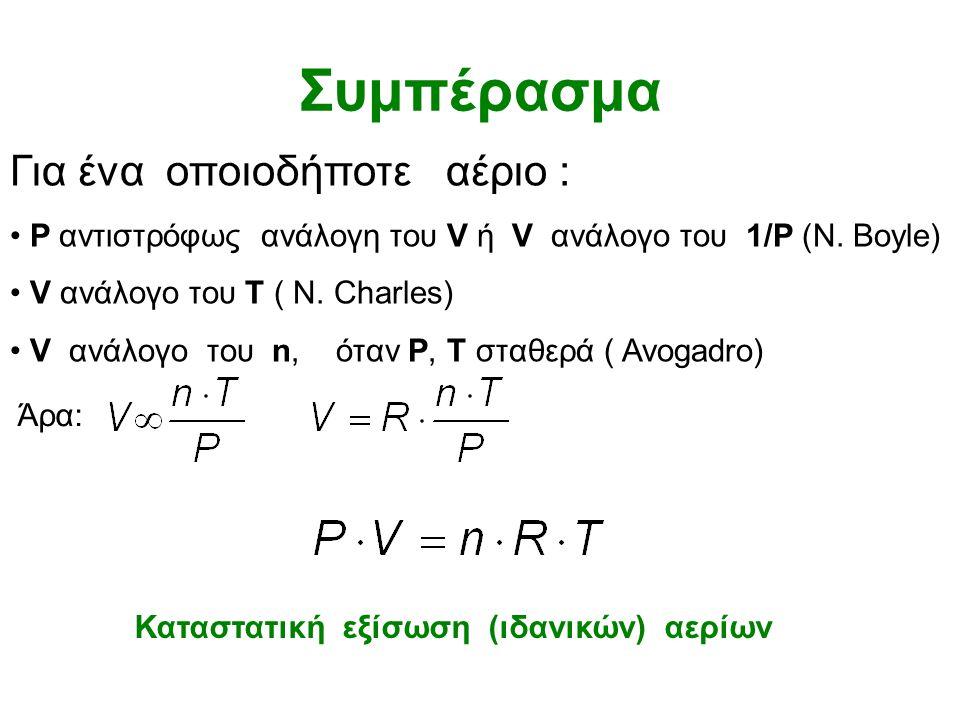 Νόμος Gay-Lussac Π ί ε σ η (P) Θ ε ρ μ ο κ ρ α σ ί α (Τ) Χαμηλή θερμοκρασία, Μικρή πίεση Υψηλή θερμοκρασία, Μεγάλη πίεση (όγκος σταθερός)