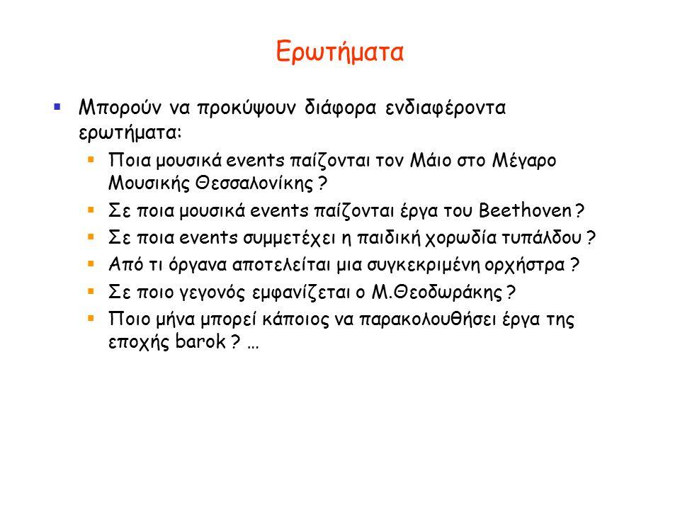Ερωτήματα  Μπορούν να προκύψουν διάφορα ενδιαφέροντα ερωτήματα:  Ποια μουσικά events παίζονται τον Μάιο στο Μέγαρο Μουσικής Θεσσαλονίκης .