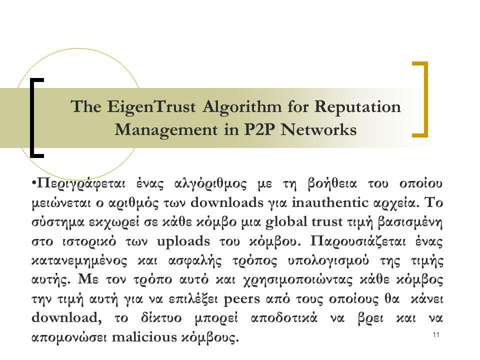 11 The EigenTrust Algorithm for Reputation Management in P2P Networks Περιγράφεται ένας αλγόριθμος με τη βοήθεια του οποίου μειώνεται ο αριθμός των downloads για inauthentic αρχεία.