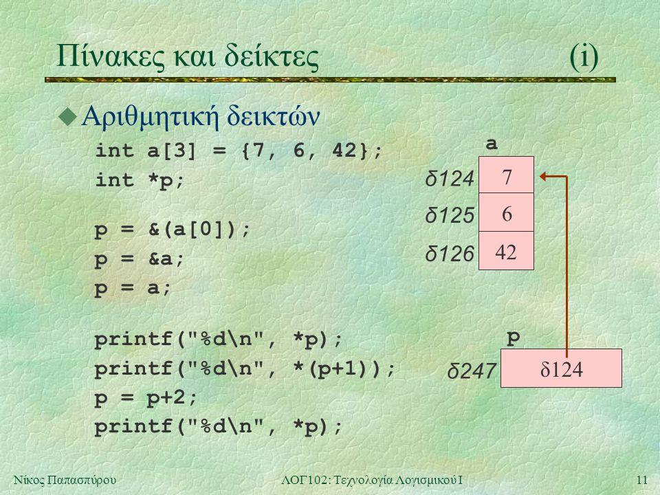 11Νίκος ΠαπασπύρουΛΟΓ102: Τεχνολογία Λογισμικού Ι Πίνακες και δείκτες(i) u Αριθμητική δεικτών int a[3] = {7, 6, 42}; int *p; p δ247 a δ124 7 δ125 6 δ126 42 δ124 p = &(a[0]); p = &a; p = a; printf( %d\n , *p); printf( %d\n , *(p+1)); p = p+2; printf( %d\n , *p);