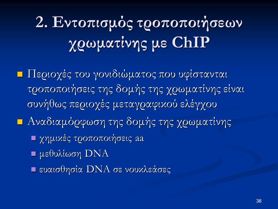 38 2. Εντοπισμός τροποποιήσεων χρωματίνης με ChIP Περιοχές του γονιδιώματος που υφίστανται τροποποιήσεις της δομής της χρωματίνης είναι συνήθως περιοχ
