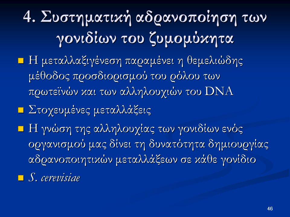 46 4. Συστηματική αδρανοποίηση των γονιδίων του ζυμομύκητα Η μεταλλαξιγένεση παραμένει η θεμελιώδης μέθοδος προσδιορισμού του ρόλου των πρωτεϊνών και
